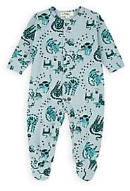 The Bonnie Mob Infants' Cat-Print Cotton Footed Playsuit-Green