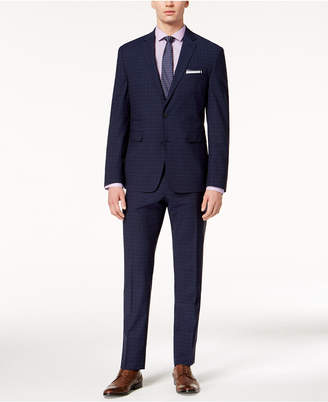 Vince Camuto Men's Coolmax Slim-Fit Stretch Navy Plaid Suit