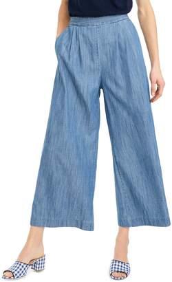 J.Crew Wide Leg Crop Chambray Pants
