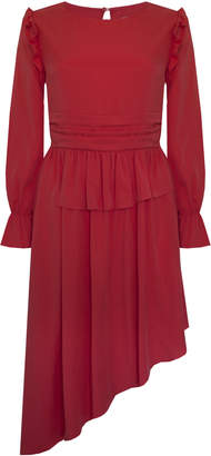 Jovonna London Red Windmill Asymmetrical Dress - UK8 - Red