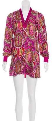 Tibi Printed Silk Mini Dress