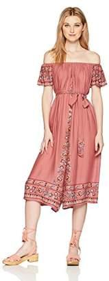En Creme Junior's Bohemian Embroidered Off The Shoulder Midi Dress