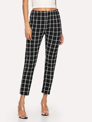 Shein Elastic Waist Checked Pants