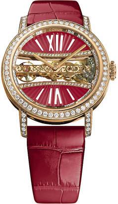 Corum B113/03168 - 113.000.85/0F90 DV91R Golden Bridges 18ct gold with diamonds and alligator leather strap watch