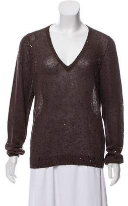 Brunello Cucinelli Sequined Silk-Linen Sweater