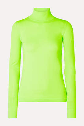 Les Rêveries Neon Stretch-knit Turtleneck Top - Bright green