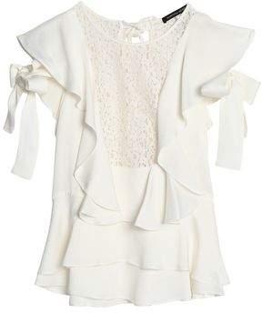 Marissa Webb Corded Lace-Paneled Ruffled Satin-Crepe Top