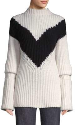 Derek Lam Ribbed Chevron Cashmere Sweater