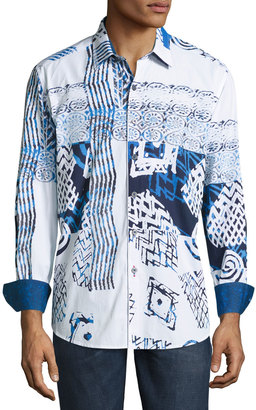 Robert Graham Mesozoic Woven Button-Front Shirt, Blue $195 thestylecure.com
