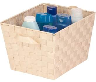 Honey-Can-Do Medium Woven Tote Bin with Straps, Creme