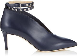 Jimmy Choo LARK 65 Navy Shiny Calf Leather Booties