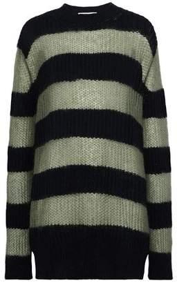 McQ Striped Open-Knit Wool-Blend Sweater