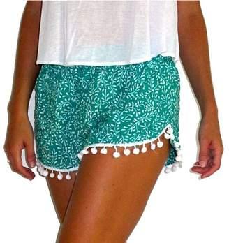 Sunnywell Women's Tassel Edge Floral Print Beach Shorts XL