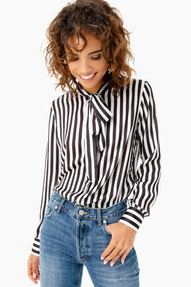 The Shirt by Rochelle Behrens Striped Crepe Button Down