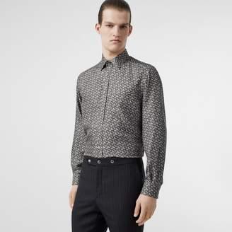 Burberry Classic Fit Monogram Print Silk Twill Shirt