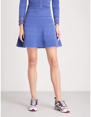 Sandro A-line pointelle-knit mini skirt