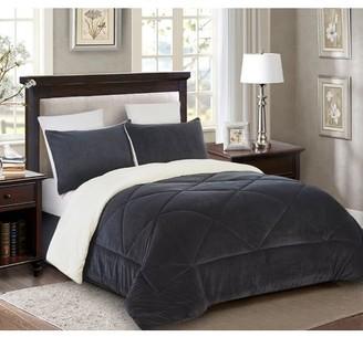 Lorient Home Reversible 2 piece Fleece/Sherpa Down Alternative Comforter set - Twin - Dark Grey