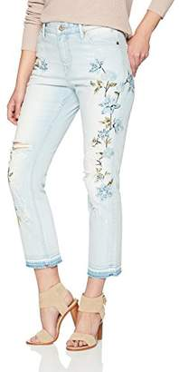 Denim Bloom Women's High Rise Straight Leg Crop Jeans with Embroidery 24X28