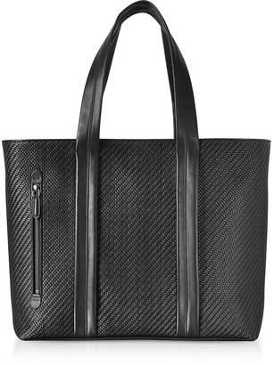 Ermenegildo Zegna Black Pelle Tessuta Large Tote Bag