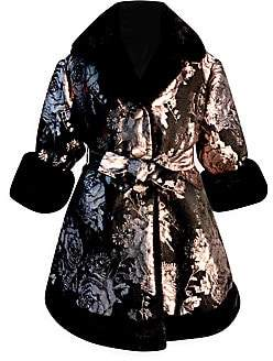 Helena and Harry Little Girl's & Girl's Faux Fur-Trim Brocade Wrap Coat