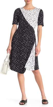 Spense Mixed Polka Dot Short Sleeve Dress