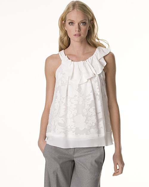 BCBGMAXAZRIA Romantic Floral Burnout Blouse