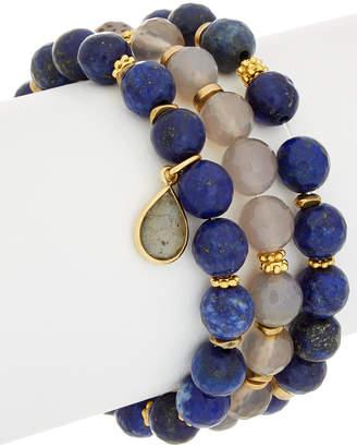Rachel Reinhardt Set Of 3 14K Plated Gemstone Stretch Bracelets