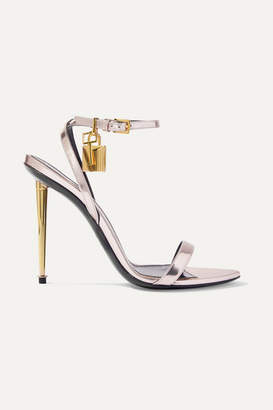 Tom Ford Padlock Metallic Leather Sandals - Silver