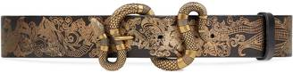 Printed leather belt with snake buckle $690 thestylecure.com