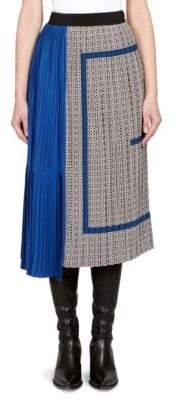 Givenchy Pleated Printed Silk Crepe de Chine Skirt