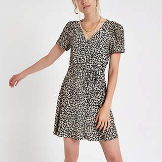 River Island Black leopard print button down mini dress
