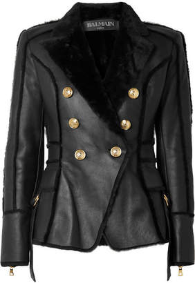 Balmain Double-breasted Shearling Jacket - Black