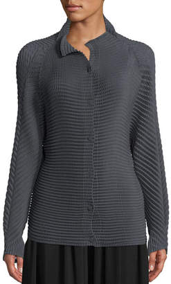 Issey Miyake Long-Sleeve Button-Down Wool-Blend Sweater