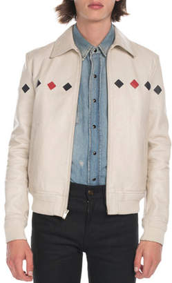Saint Laurent Men's Teddy Diamond-Detail Leather Jacket