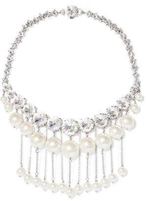 Miu Miu Silver-tone Faux Pearl And Crystal Necklace