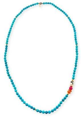 """Akola Long Turquoise Beaded One-Strand Necklace, 36"""""""
