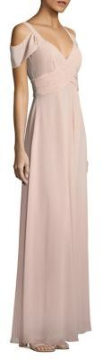 Laundry by Shelli Segal Cold-Shoulder Shirred Gown $295 thestylecure.com