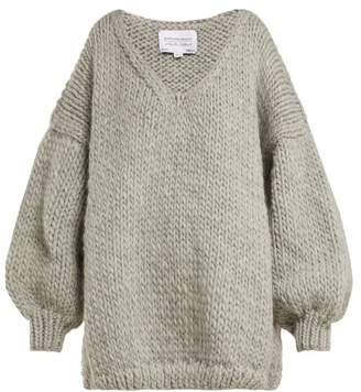 I Love Mr Mittens - V Neck Knitted Wool Sweater - Womens - Grey