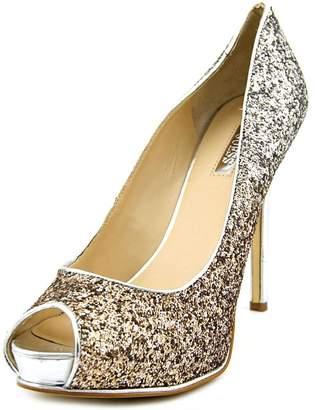 GUESS Honoran Women US 10 Silver Peep Toe Platform Heel