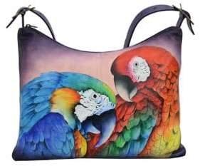 Anuschka Parrot Slim Large Leather Hobo Bag