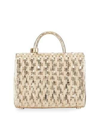 Nancy Gonzalez Woven Metallic Top-Handle Bag