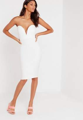 Missguided Scuba Plunge Bandeau Midi Dress White