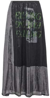 McQ Lace-Trimmed Metallic Printed Silk-Blend Midi Skirt