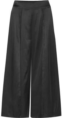 Myla Covent Garden Cropped Stretch-silk Satin Wide-leg Pants - Black