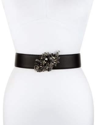 Deborah Drattell Adriana Rhinestone-Leaf Leather Belt, Black