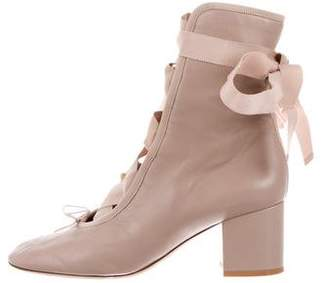 Valentino Leather Lace-Up Boots