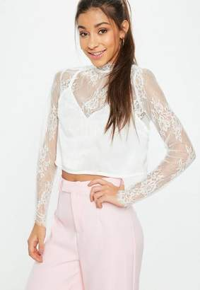 Missguided Cami Insert Lace Crop Top