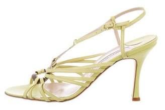 Manolo Blahnik Leather Multistrap Sandals w/ Tags