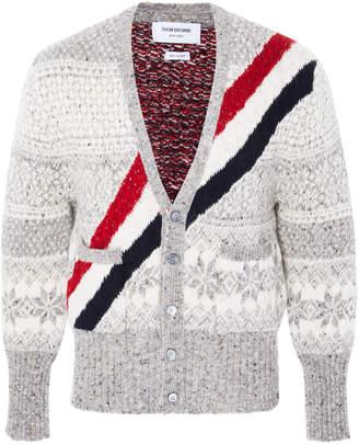 Thom Browne Striped Fair Isle Wool And Mohair-Blend Cardigan