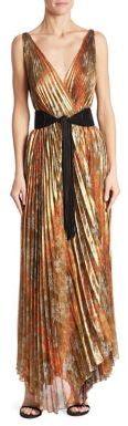 Oscar de la Renta Pleated Metallic Gown $4,990 thestylecure.com